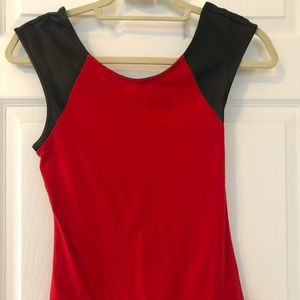 Express Red Top w/ Faux Leather Shoulders